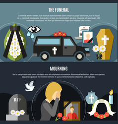 funeral and mourning banners set vector image vector image