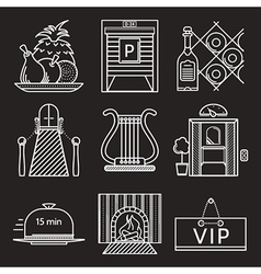 Restaurant white line icons vector image vector image