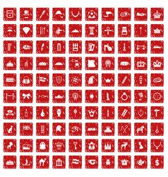 100 crown icons set grunge red vector