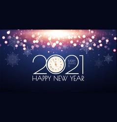 2021 happy new year bokeh background shining vector image