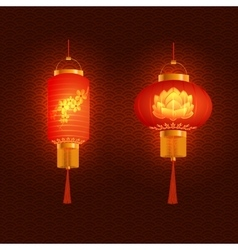 A set of orange-red Chinese lanterns With cherry vector