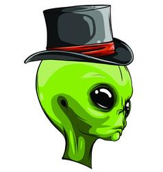 Alien head cowboy hat logo vector