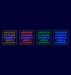 alphabet neon yellow orage green blue vector image