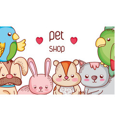 animals pet shop cute cartoons vector image