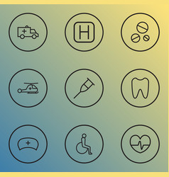 antibiotic icons line style set with pulse crutch vector image