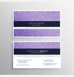 awesome triangle pattern business card design vector image