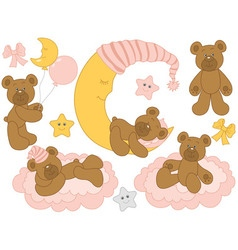 Baby bear set vector