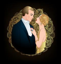 beautiful couple in art deco style retro fashion vector image