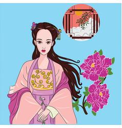 Beautiful woman asian vector