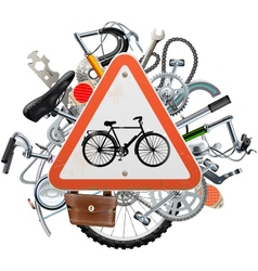Bicycle Spares Concept with Triangle Sign vector image