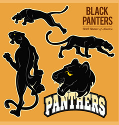 black panthers - set isoled vector image