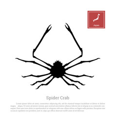 black silhouette a japanese spider crab vector image