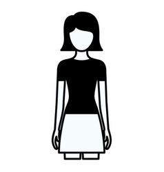 black silhouette thick contour of faceless full vector image