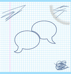 blank speech bubbles line sketch icon isolated on vector image