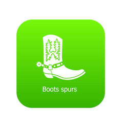 Boot spurs icon green vector