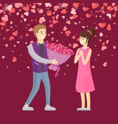 Bouquet flowers to girlfriend valentine vector