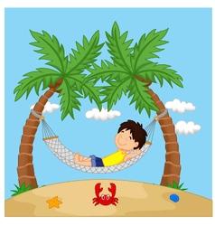 Boy relaxing in a hammock vector image
