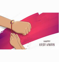 brother and sister tying rakhi on raksha bandhan vector image