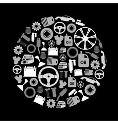 Car parts store simple gray-scale icons in circle vector