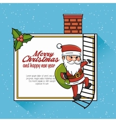 card merry christmas santa climb stair chimney vector image