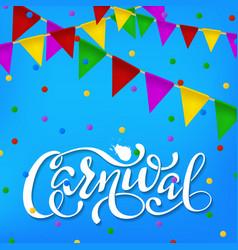 Carnival banner white paper lettering label vector