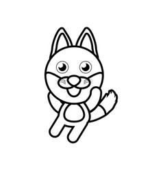 Cartoon fox animal outline vector