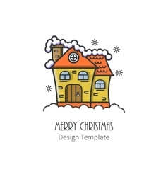 Christmas house in a linear style vector image