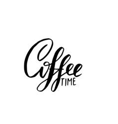 coffee time banner modern dry brush lettering vector image