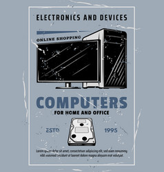 Computers ans electronic devices grunge poster vector