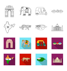 Country india outlineflet icons in set collection vector