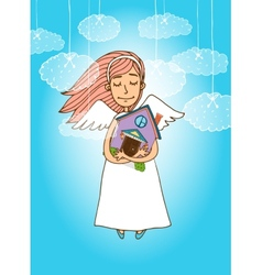 Cute angel holding a house vector image