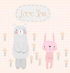 cute cartooon teddy bear and rabbit bunny vector image