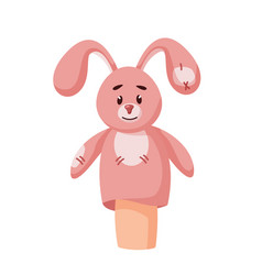 Cutie bunny rabbit hand puppet isolated on white vector
