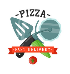 Delivery pizza knife and spatula badge vector