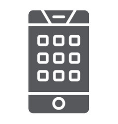 dial number on phone glyph icon mobile and call vector image