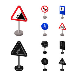 Different types of road signs cartoonblack icons vector
