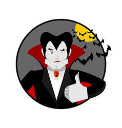Dracula Thumbs up shows well Vampire winks Sign vector image