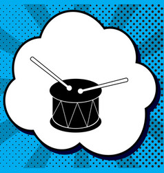 Drum sign black icon in bubble on blue vector
