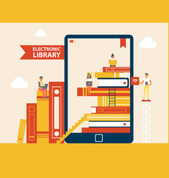 Electronic library books set vector