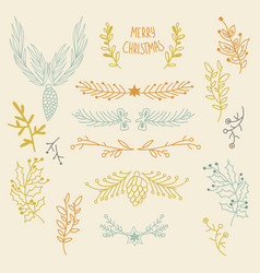 festive winter hand drawn natural background vector image