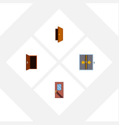 Flat icon approach set of lobby entry door and vector
