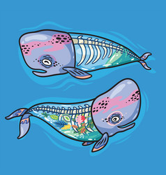 floral anatomy whales in cartoon style vector image