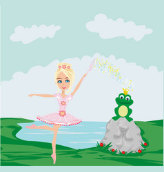 Frog with a crown and fairy ballerina vector
