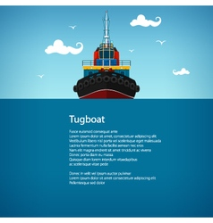 Front view of the tugboat poster vector