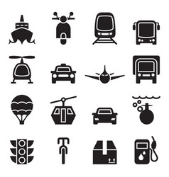 Front view of vehicle transportation icon set vector