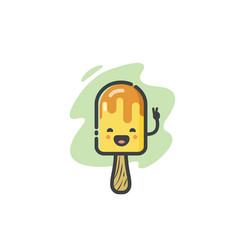 Funny banana ice cream icon vector
