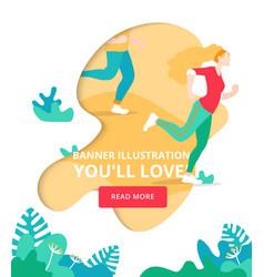 girl running marathon banner sport vector image