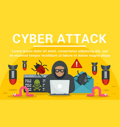 Hacker cyber attack concept banner flat style vector