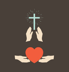 Hands with a cross and a heart vector