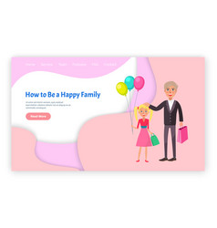 how to be happy family grandfather granddaughter vector image